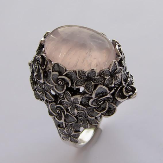 Кольцо серебряное с кварцем, арт.БУК3