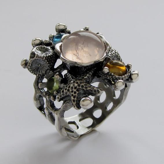 Кольцо с кварцем, цитрином, топазом, хризолитом, арт. МЗ3