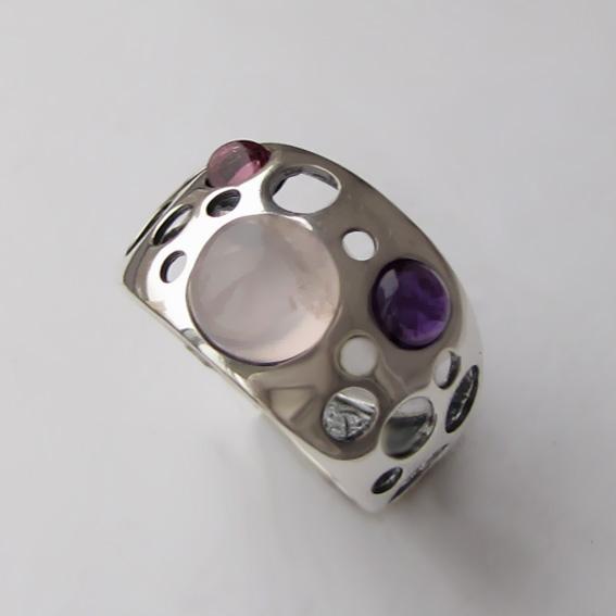 Кольцо с кварцем, аметистом, турмалином, арт.НЛ3
