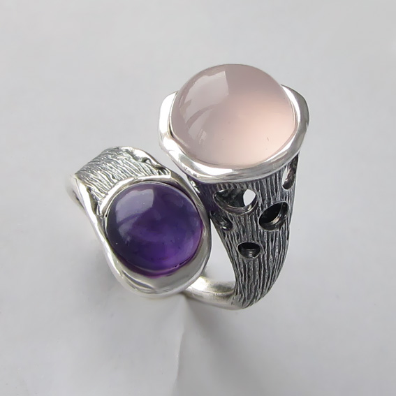 Кольцо с кварцем, аметистом, арт. Ш3