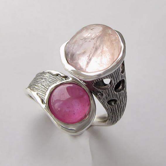 Кольцо с кварцем, турмалином, арт. Ш3