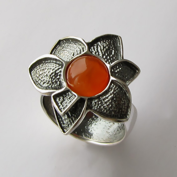 Кольцо с сердоликом, арт. 6ПУХ3