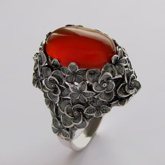 Серебряное кольцо с сердоликом, арт.БУК3
