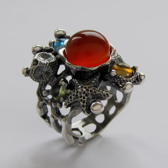 Кольцо с сердоликом, цитрином, топазом, хризолитом МЗ3