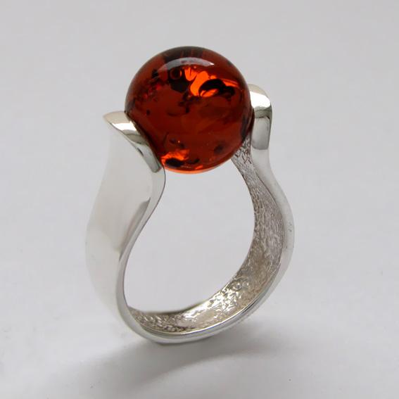 Кольцо с янтарем, арт. МРС3
