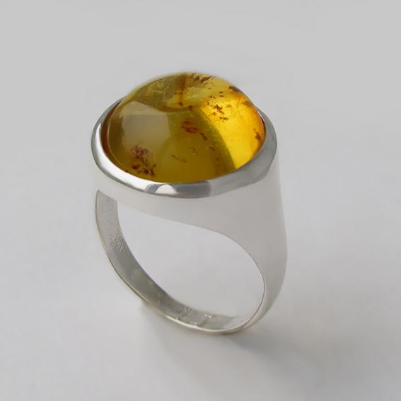 Кольцо с янтарем инклюзом, арт. НКН315