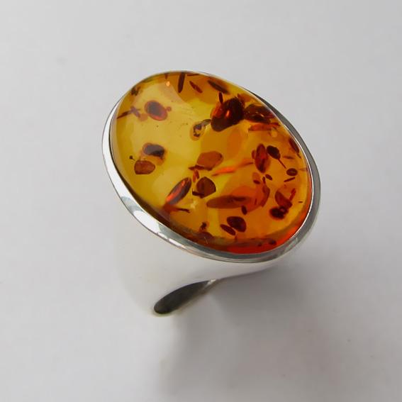 Кольцо с янтарем, арт. ОВН313