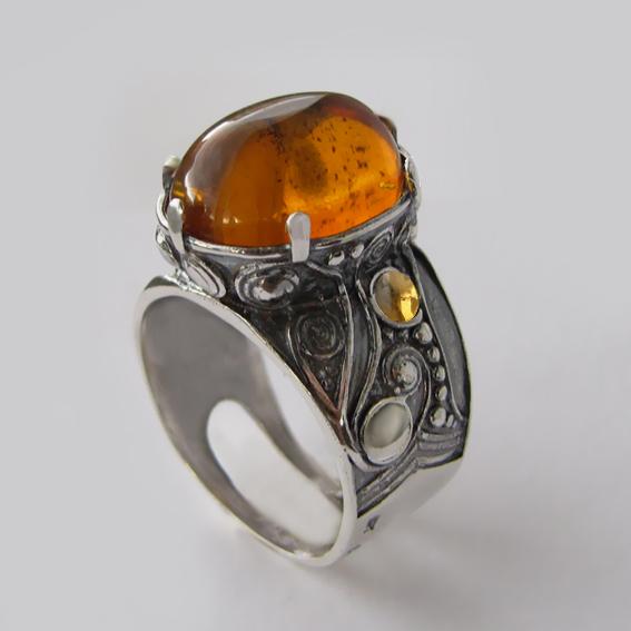 Кольцо с янтарем, цитрином, арт.ПЕОР312