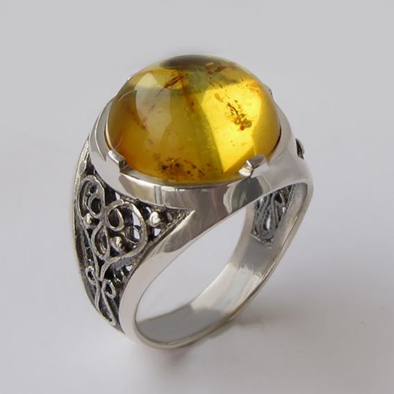 Кольцо с янтарем инклюзом, арт. ПЕР315