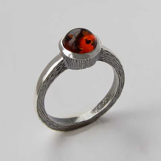 Кольцо с янтарем, арт. ПФ38