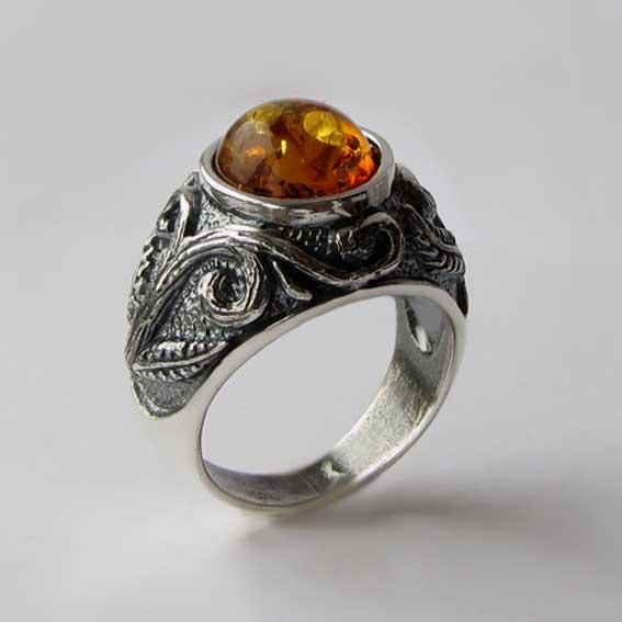 Кольцо с янтарем, арт. ШАХ3М