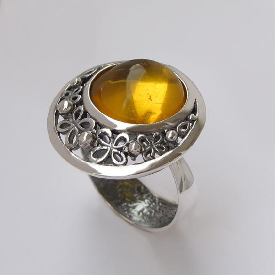 Кольцо с янтарем, арт. УЗ312-2