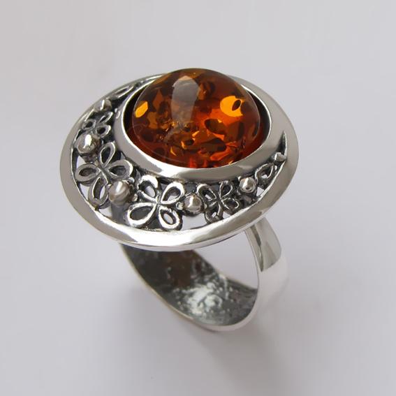 Кольцо с янтарем, арт. УЗ312