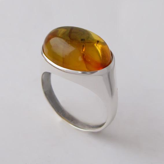 Кольцо с янтарем, арт. ВОВ312