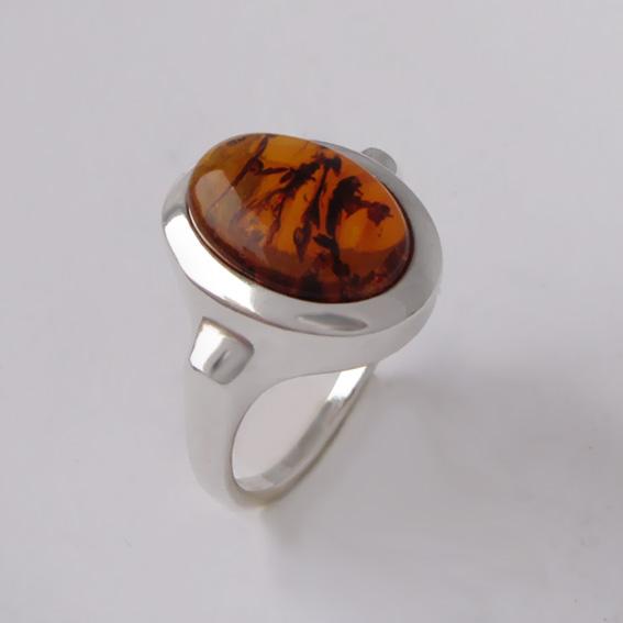 Кольцо с янтарем, арт. ЗЕ310