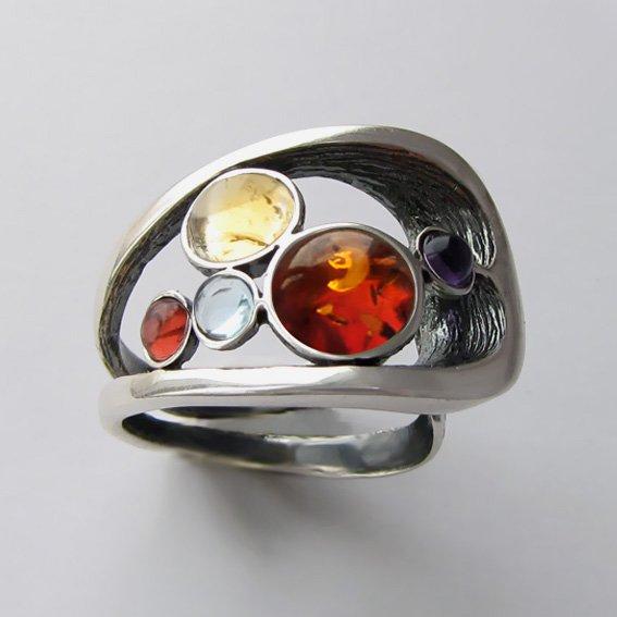 Кольцо янтарем, цитрином, арт. НЛН37