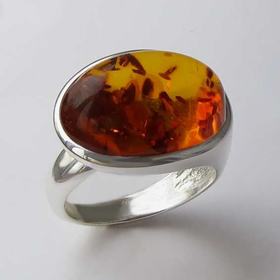 Кольцо с янтарем, арт. ВОВБ313