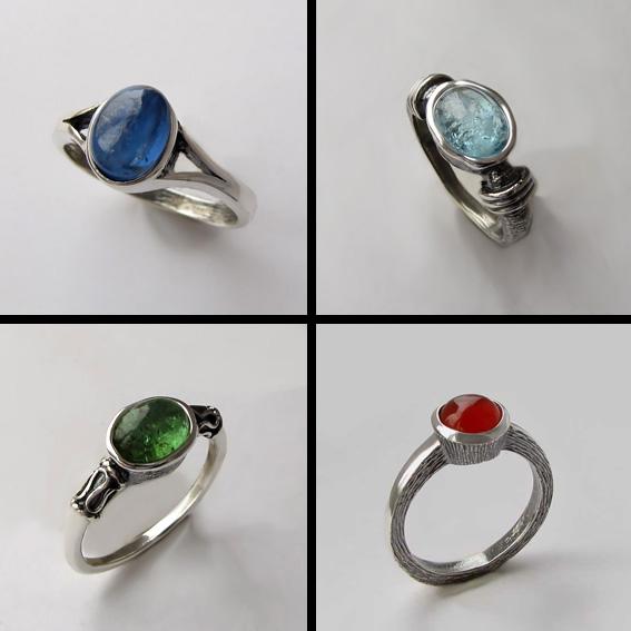 Минималистичные кольца с камнями