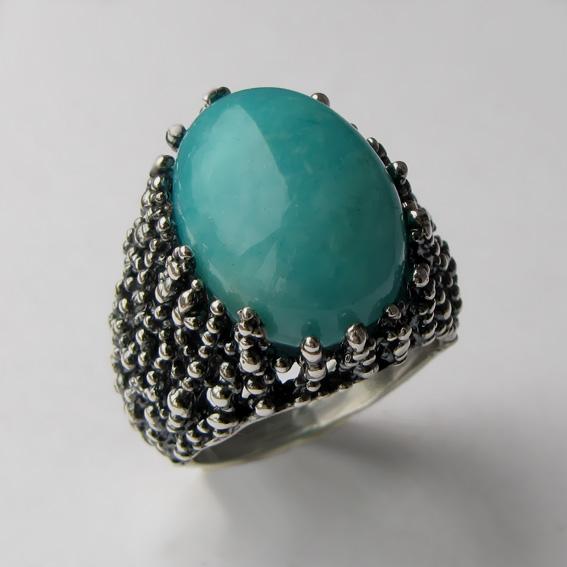 Кольцо серебряное с амазонитом, арт. ГАУ313