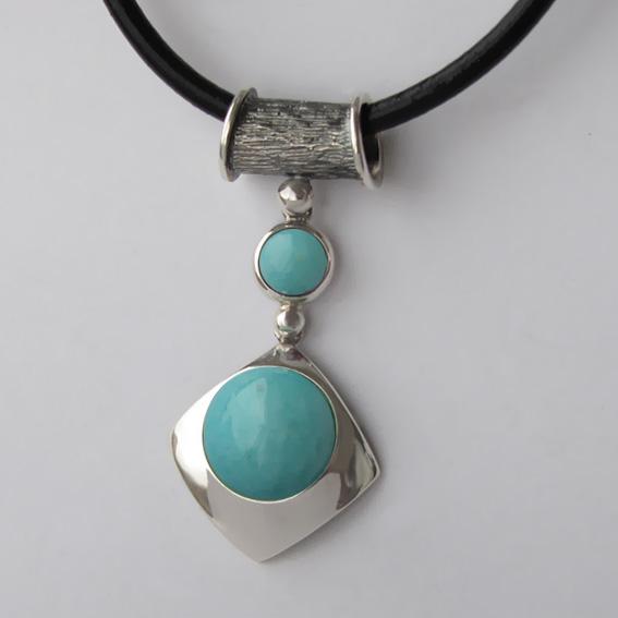 Кулон серебряный с амазонитом, арт. КВВ112