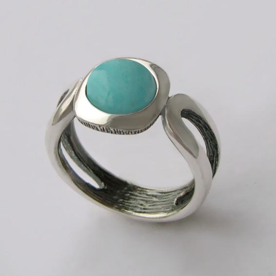 Кольцо из серебра с амазонитом, арт.ЛСП3