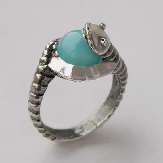 Кольцо с амазонитом, арт.ОНО3