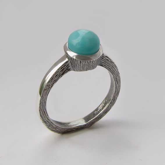 Кольцо серебряное с амазонитом, арт.ПФ38