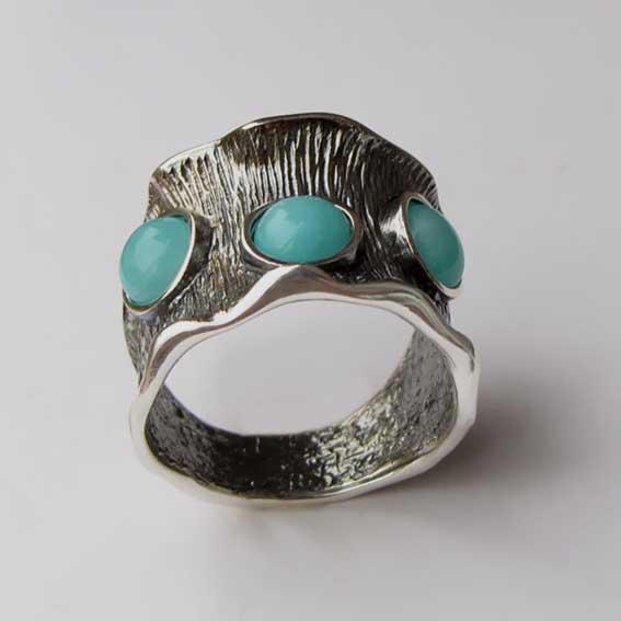 Кольцо из серебра с амазонитом, арт.ВОЛ36