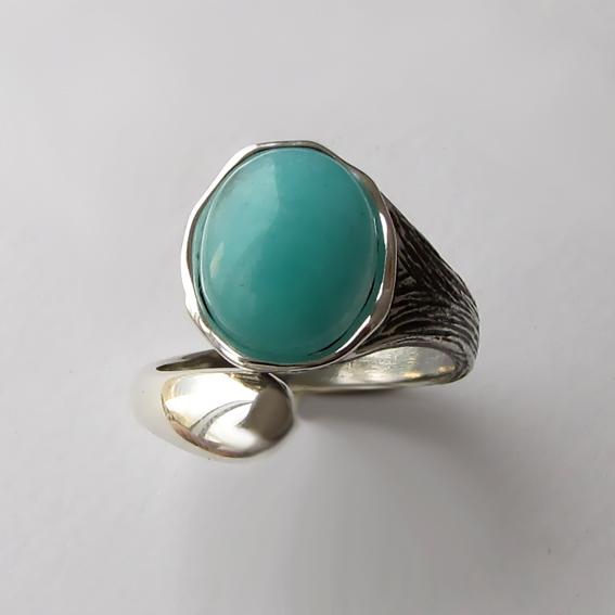 Кольцо с амазонитом, арт.ЧОВ3, серебро 925