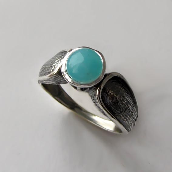 Кольцо с амазонитом, арт.ПФЧ36, серебро 925