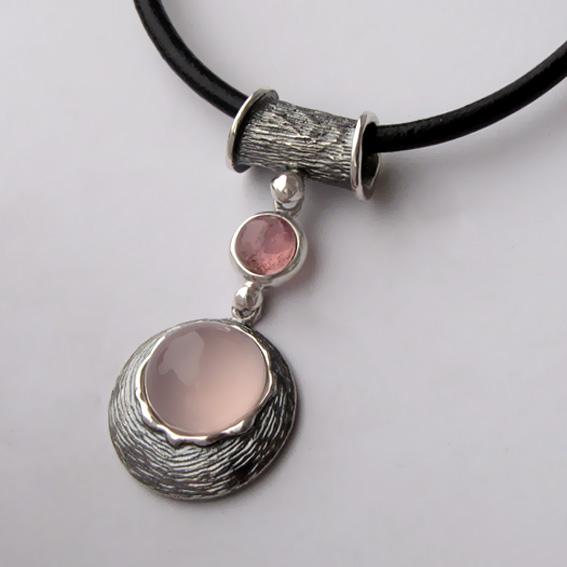 Кулон из серебра с кварцем, турмалином, арт.КИКЧ112
