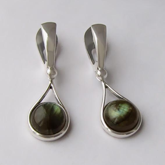 Серьги из серебра с лабрадором, арт. ИКАП4Н
