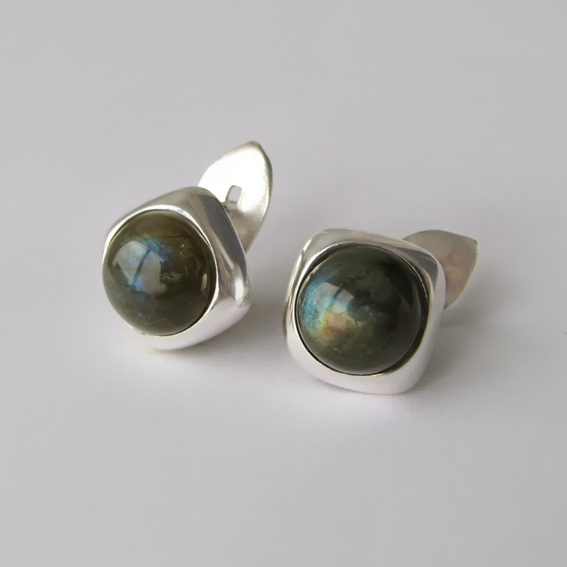 Серьги из серебра с лабрадором, арт.КВ4ВП