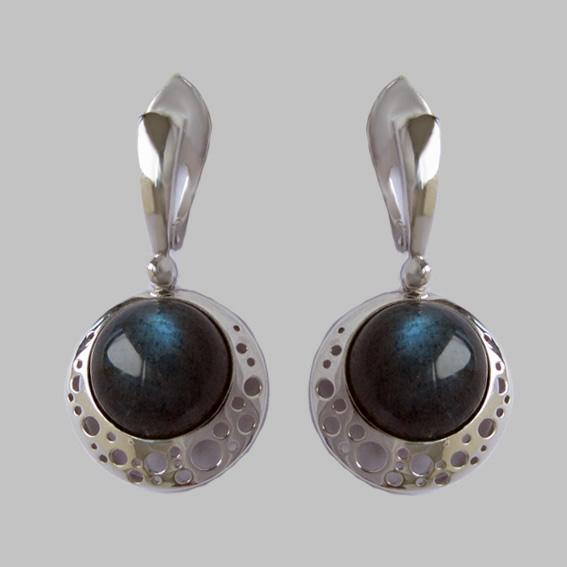 Серебряные серьги с лабрадором, арт.УЗ4