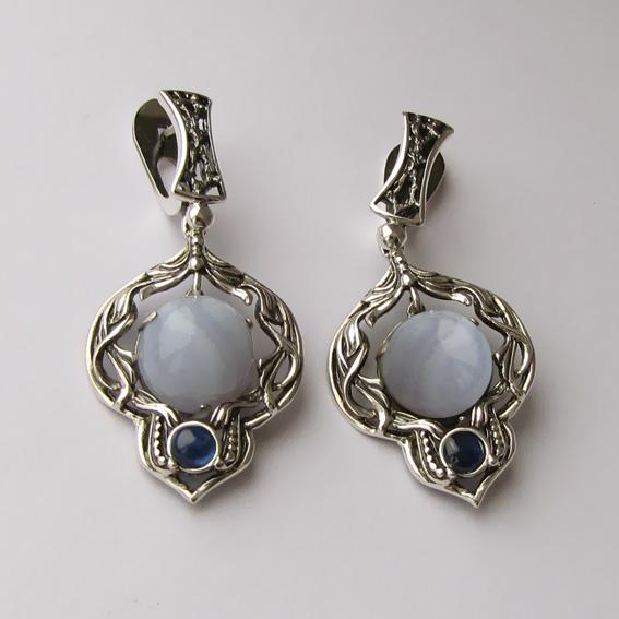 Серьги серебряные с голубым агатом, арт. ЦИК4