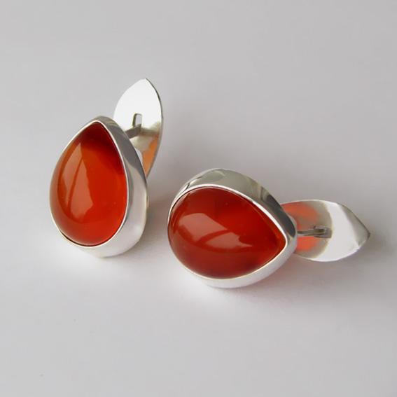 Серебряные серьги с сердоликом, арт.СЛЖ4П