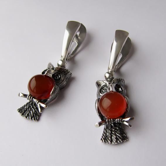 Серебряные серьги с сердоликом, арт. ФИЛ4
