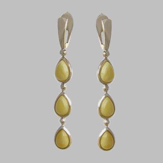 Серебряные серьги с янтарем белым 3СЛ47