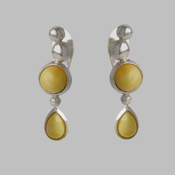 Серебряные серьги ВИСЛ4П с янтарем белым