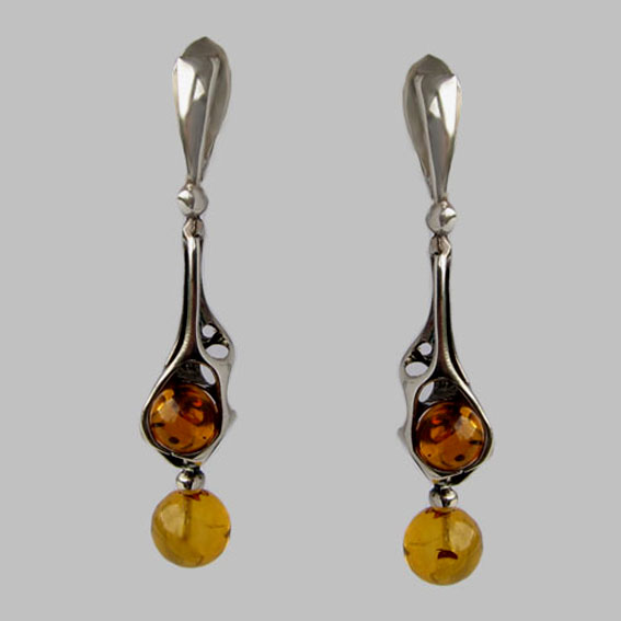 Серебряные серьги с янтарем, арт.СД4
