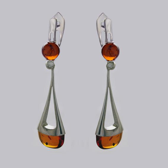 Серебряные серьги с янтарем, арт.ЛС4К