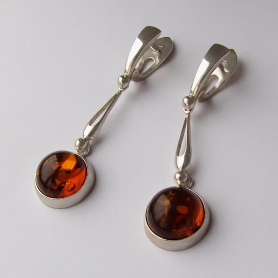 Серьги из серебра с янтарем, арт. НКД412