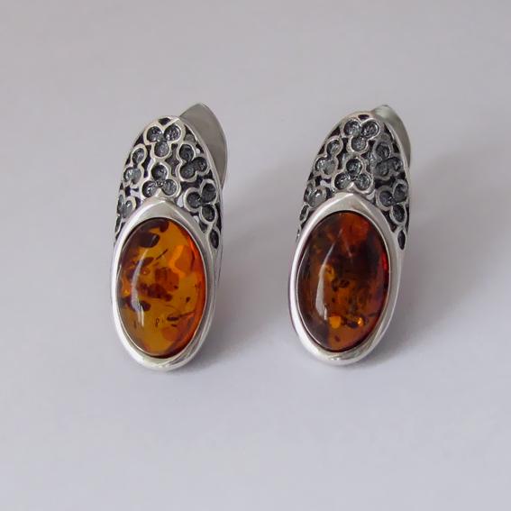 Серьги серебряные с янтарем, арт. ВАС4П