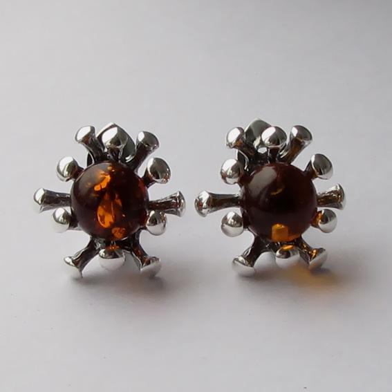 Серебряные серьги с янтарем, арт. Р4П