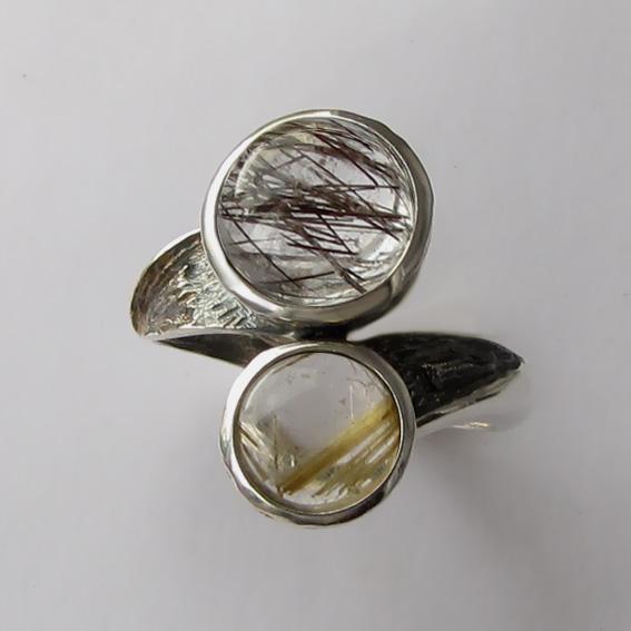 Кольцо с рутиловым кварцем, арт. 2ПФ3