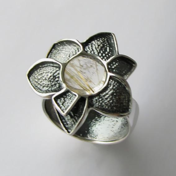 Кольцо с золотистым кварцем, арт.6ПУХ3