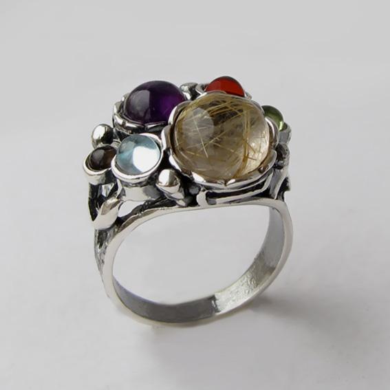 Кольцо с золот.кварцем, топазом, раухтопазом, гранатом, хризолитом БУК3Н