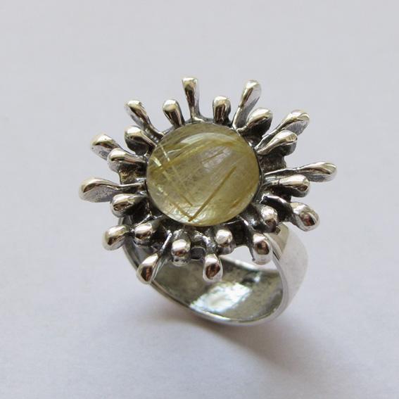 Кольцо СЧ3 с золотистым кварцем