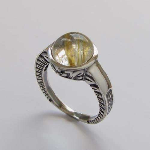 Кольцо с золотистым кварцем, арт. СКИФ3
