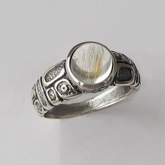 Кольцо с золотистым кварцем, арт. ГРИК3